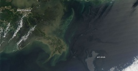Photo of Gulf of Mexico Oil Spill from NASA Satellite