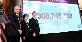 Secretary Locke, Acting Deputy Secretary Blank and Census Director Groves Unveiled the Official National Population
