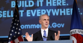 Bryson, gesturing during Chamber remarks, on podium (photo: U.S. Chamber of Commerce)