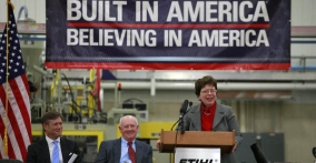 Acting U.S. Commerce Secretary Rebecca Blank Announces $40 Million Initiative to Challenge Businesses to Make it in America (Photo: Roberto Westbrook and STIHL Inc.)