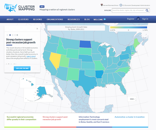 Blog Entries From June Department Of Commerce - Us map of college and university clusters