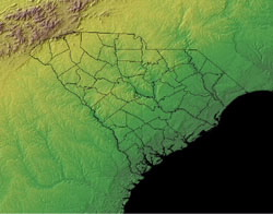 Topographic Map of South Carolina