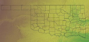Topographic Map of Oklahoma