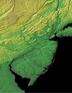Topographic Map of New Jersey