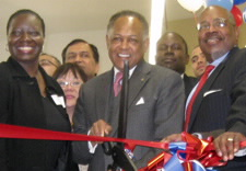 Richmond, VA Local Census Office opening on January 29, 2009.  Pictured from left to right:  Randall Williams, Richmond Local Census Office Manager. Somonica L. Green, deputy regional director, Charlotte Region. Dwight C. Jones, Mayor of Richmond. Arnold A. Jackson, Associate director for the Decennial Census, US Census Bureau. and lastly the Honorable Henry L. Marsh III, Virginia State Senate, District 16. Click for larger image.