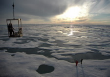 Photo of ice and open water in the Beaufort Sea north of Alaska. Click for larger image.