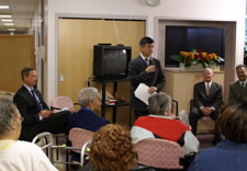 Residents of Liberty Senior Center listen as Secretary Locke addresses the group. Click for larger image.