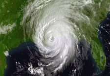 Satellite image of Hurricane Katrina. Click for larger image.