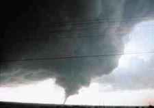Image of large tornado touching the ground. Click for larger image.