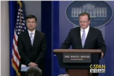 Image of White House briefing with Secretary Locke and White House Press Secretary Gibbs. Click for video of press briefing.