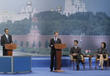 President Obama, President Medvedev, Secretary Locke and Russian Minister Nabiullina seen on stage. Click for larger image.