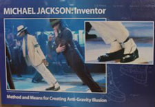 "Image of poster at exhibit showing figures in Jackson's shows leaning at an angle ""defying gravity."" Click for larger image."