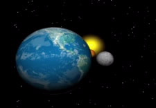 Image of Earth, Mars, the Moon and  and the sun. Click for video.