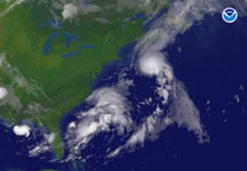 Satellite image of Tropical Storm Chantal forming south of Halifax, Nova Scotia. Click for larger image.