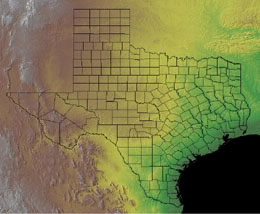 Topographic Map of Texas