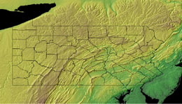 Topographic Map of Pennsylvania