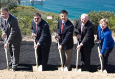 Shown with shovels in their hands: NIST Deputy Director Patrick Gallagher, Scripps Institution of Oceanography Directo Director Tony Haymet, Commerce Secretary Gary Locke, San Diego Mayor Jerry Sanders, NOAA Chief of Staff Margaret Spring. Click for larger image.