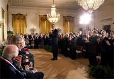 Obama applauds recipients. White House photo by Chuck Kennedy. Click for larger image.
