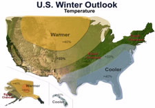 Map of U.S. with winter temperature outlook. Click for larger image.