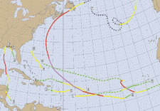 Map tracing paths of hurricanes. Click for full-size.