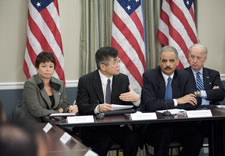 Pictured are Presidential Senior Adviser Valerie Jarret, Secretary Gary Locke, Attorney General Eric Holder and Vice President Joe Biden. Click for larger image.