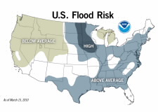 Map of U.S. showing areas of flood risk. Click for larger image.