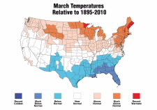 Map of March temperature. Click for larger image.