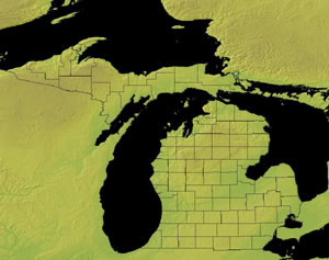 Topographic Map of Michigan