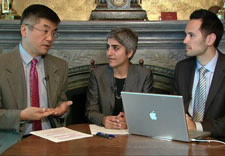 Secretary Locke, AAPI Executive Director Kiran Ahuja and White House aide with laptop computer. Click for larger image. (Courtesy of the White House)