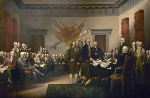 John Trumbull's 1818 painting of the signing of the Declaration of Indepence