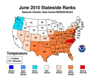 Map of U.S. showing June temperatures