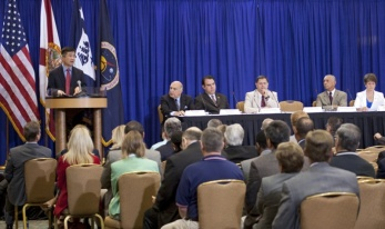 Secretary of Commerce Gary Locke addresses business and industry leaders during a town hall meeting