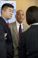 Secretary of Commerce Gary Locke and NASA Administrator Charles Bolden speak to reporters during a town hall meeting