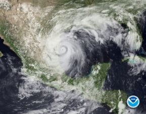 Image of Hurricane Alex, the first named storm of the 2010 Atlantic hurricane season, hits northeast Mexico on June 30.