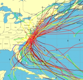 Graphic from NOAA's Historical Hurricane Tracks tool shows all hurricanes passing within 65 nautical miles of Cape Hatteras, N.C., since 1900.